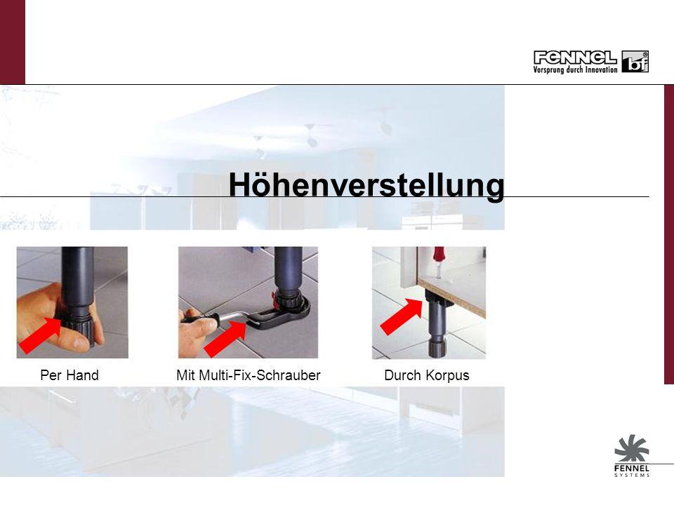 Sockelfuss Höhenverstellung von –10 / +20 mm Höhenverstellung von Hand und durch Multi-Fix Hebel möglich Höhenverstellung mit Schraubendreher durch de