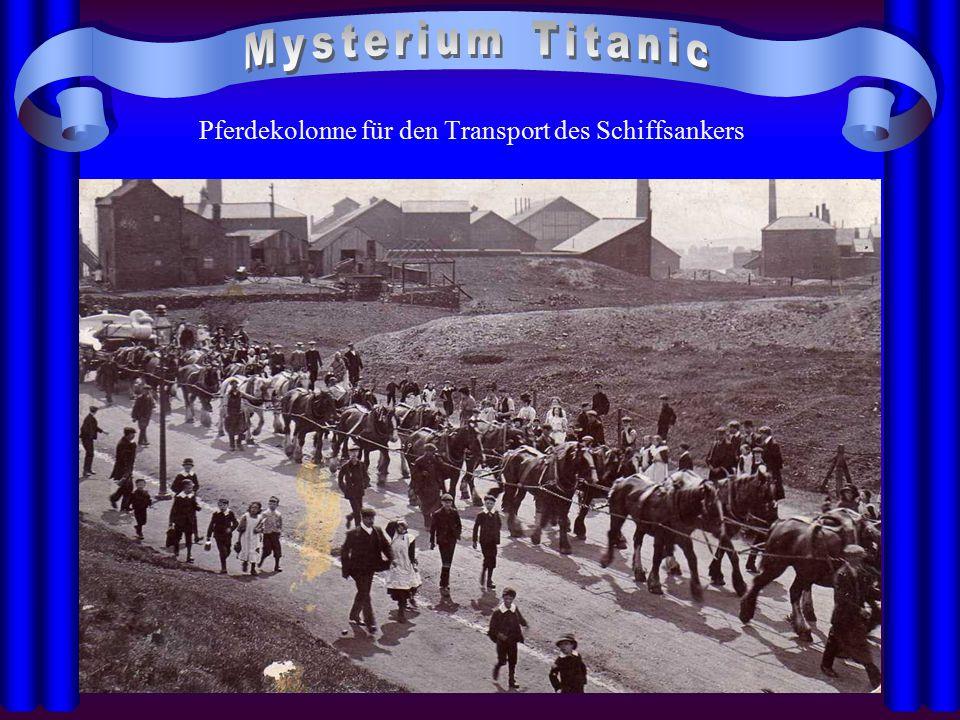 Pferdekolonne für den Transport des Schiffsankers