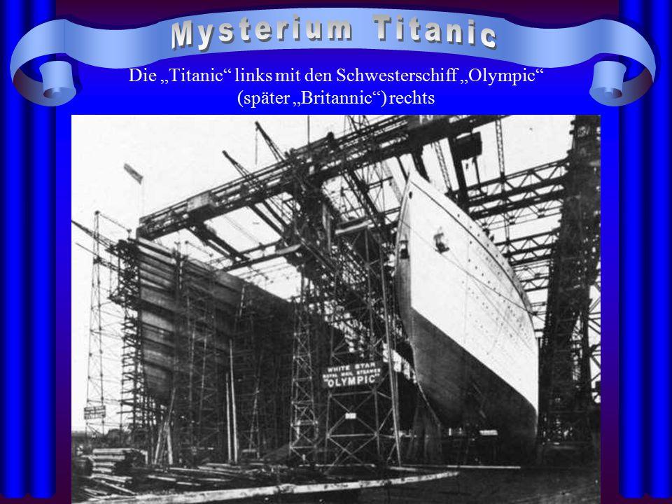 """Die """"Titanic"""" links mit den Schwesterschiff """"Olympic"""" (später """"Britannic"""") rechts"""