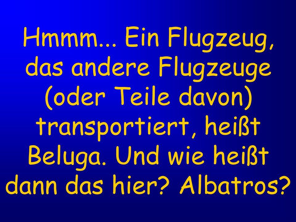 Hmmm... Ein Flugzeug, das andere Flugzeuge (oder Teile davon) transportiert, heißt Beluga.