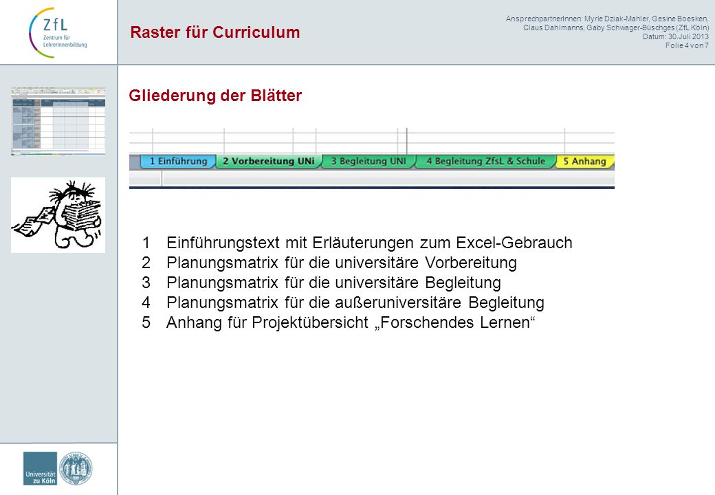 AnsprechpartnerInnen: Myrle Dziak-Mahler, Gesine Boesken, Claus Dahlmanns, Gaby Schwager-Büschges (ZfL Köln) Datum: 30.Juli 2013 Folie 4 von 7 Raster