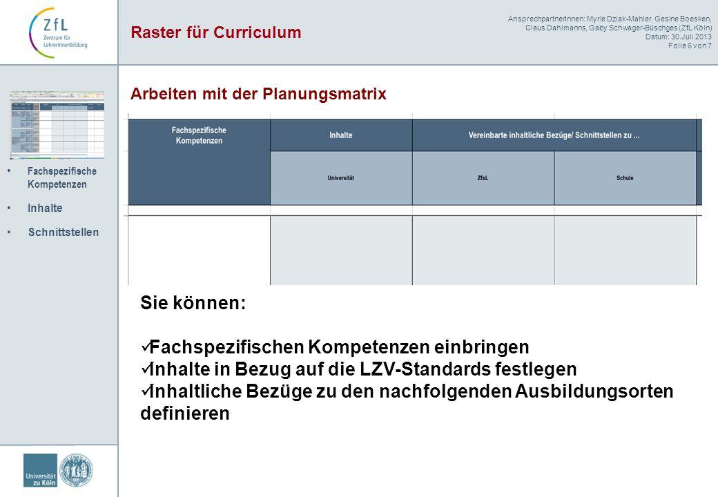 AnsprechpartnerInnen: Myrle Dziak-Mahler, Gesine Boesken, Claus Dahlmanns, Gaby Schwager-Büschges (ZfL Köln) Datum: 30.Juli 2013 Folie 6 von 7 Fachspe