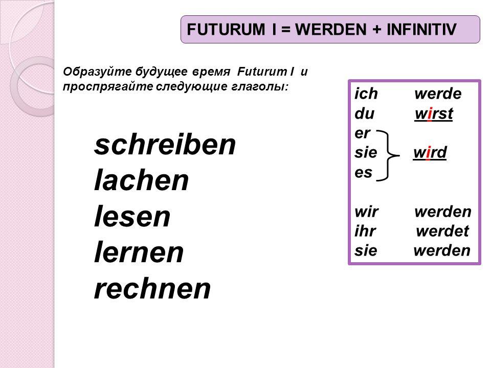 ich werde du wirst er sie wird es wir werden ihr werdet sie werden Образуйте будущее время Futurum I и проспрягайте следующие глаголы: schreiben lachen lesen lernen rechnen FUTURUM I = WERDEN + INFINITIV