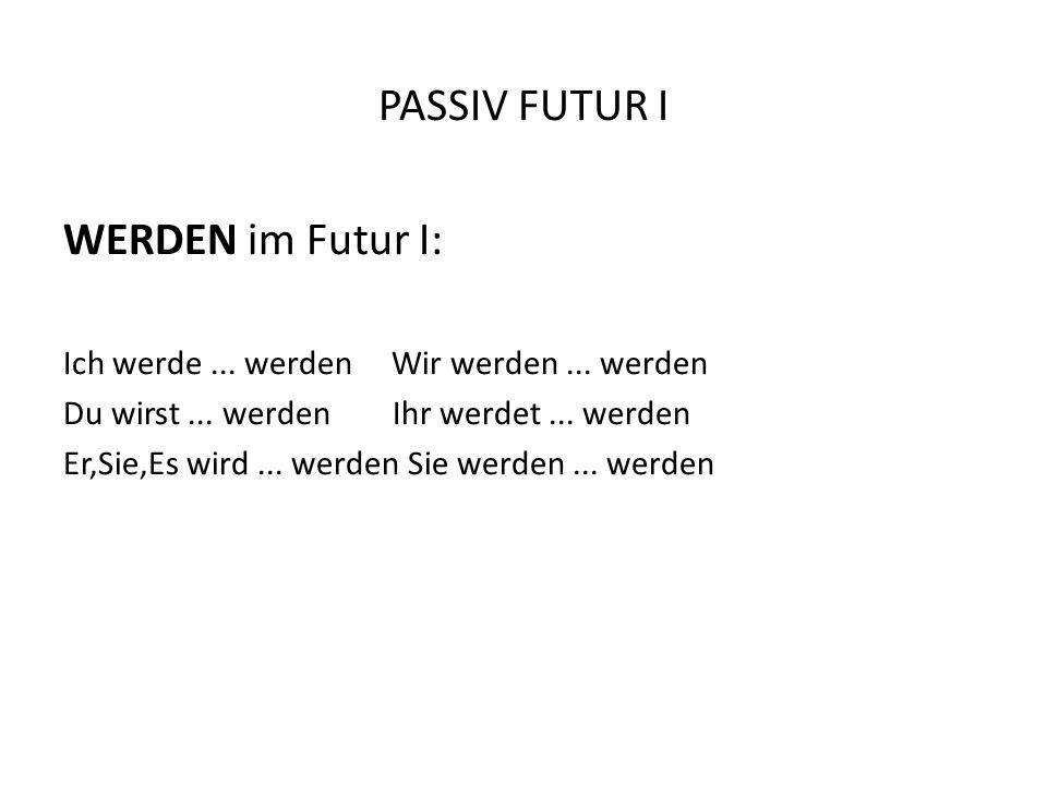 PASSIV FUTUR I WERDEN im Futur I: Ich werde...werden Wir werden...