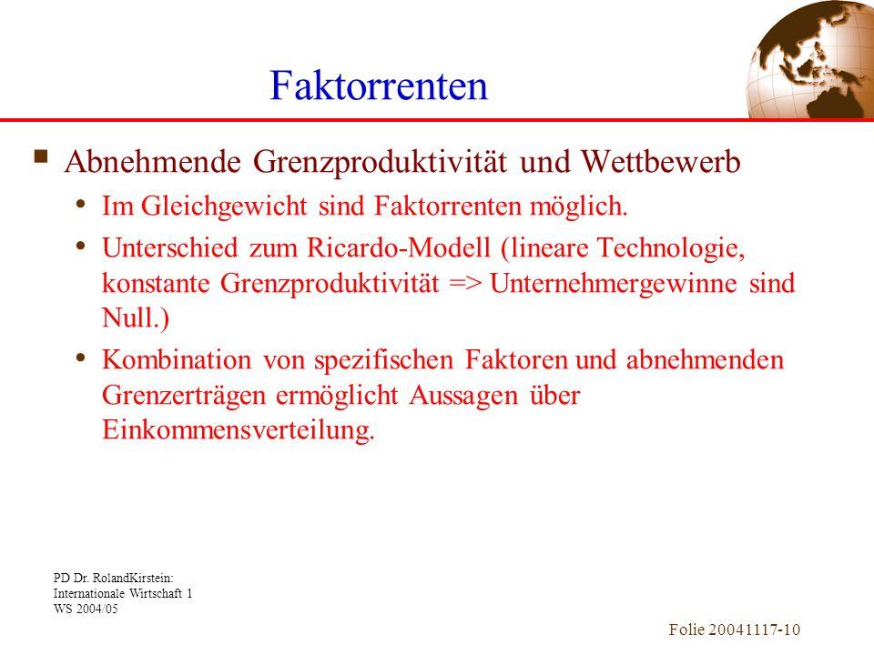 PD Dr. RolandKirstein: Internationale Wirtschaft 1 WS 2004/05 Folie 20041117-10  Abnehmende Grenzproduktivität und Wettbewerb Im Gleichgewicht sind F