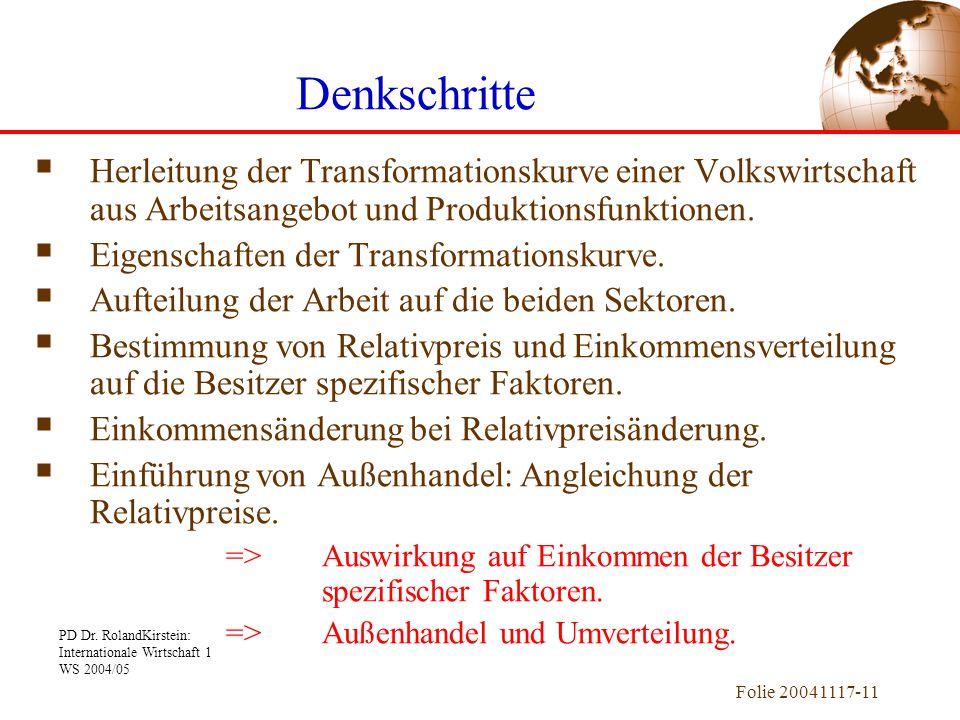PD Dr. RolandKirstein: Internationale Wirtschaft 1 WS 2004/05 Folie 20041117-11  Herleitung der Transformationskurve einer Volkswirtschaft aus Arbeit