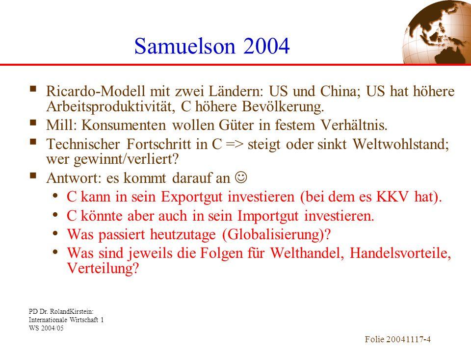 PD Dr. RolandKirstein: Internationale Wirtschaft 1 WS 2004/05 Folie 20041117-4  Ricardo-Modell mit zwei Ländern: US und China; US hat höhere Arbeitsp