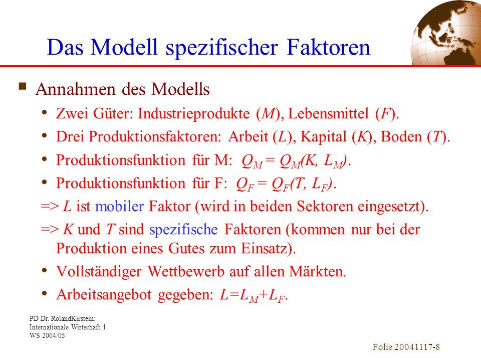 PD Dr. RolandKirstein: Internationale Wirtschaft 1 WS 2004/05 Folie 20041117-8  Annahmen des Modells Zwei Güter: Industrieprodukte (M), Lebensmittel