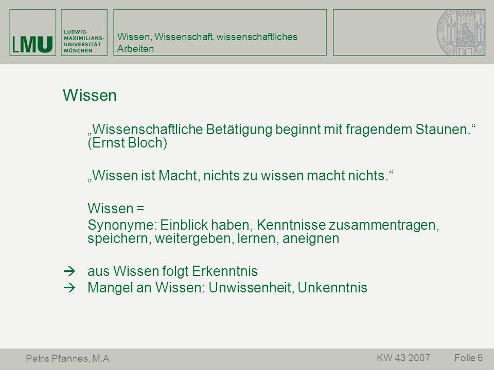 """Folie 6KW 43 2007 Petra Pfannes, M.A. Wissen, Wissenschaft, wissenschaftliches Arbeiten Wissen """"Wissenschaftliche Betätigung beginnt mit fragendem Sta"""