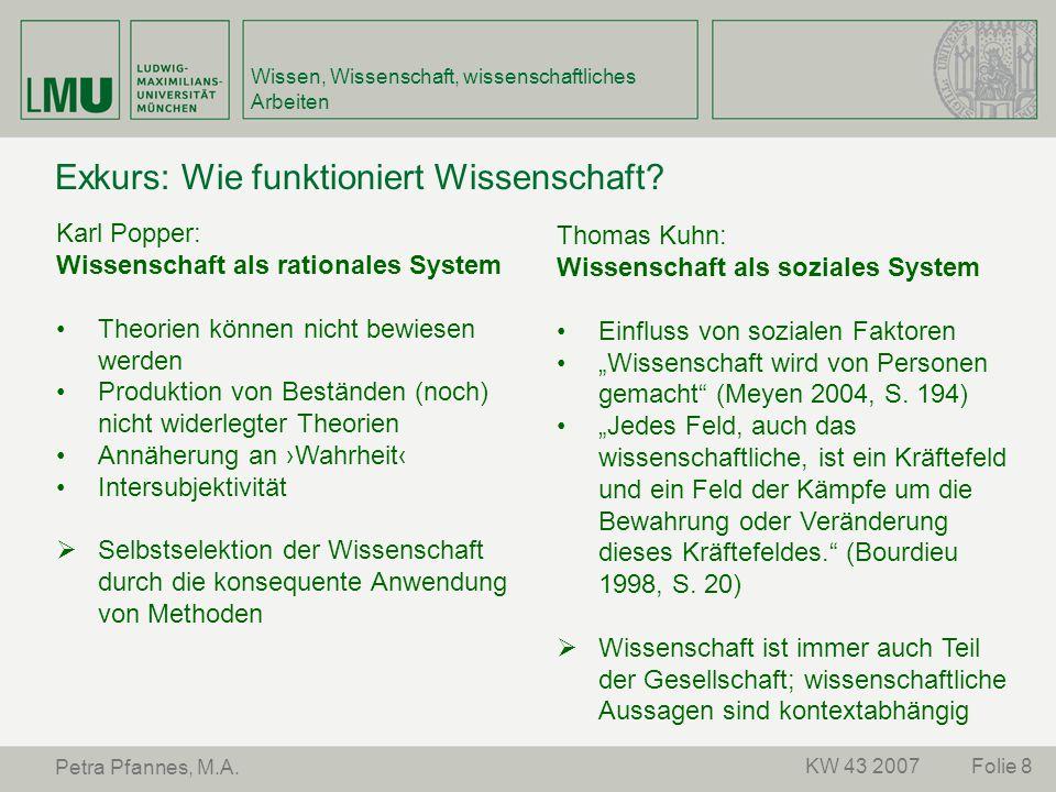 Folie 8KW 43 2007 Petra Pfannes, M.A. Wissen, Wissenschaft, wissenschaftliches Arbeiten Exkurs: Wie funktioniert Wissenschaft? Karl Popper: Wissenscha