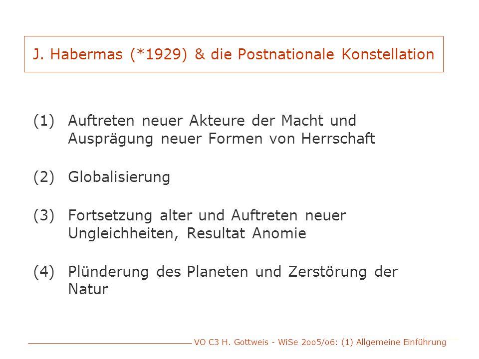 VO C3 H. Gottweis - WiSe 2oo5/o6: (1) Allgemeine Einführung J. Habermas (*1929) & die Postnationale Konstellation (1)Auftreten neuer Akteure der Macht