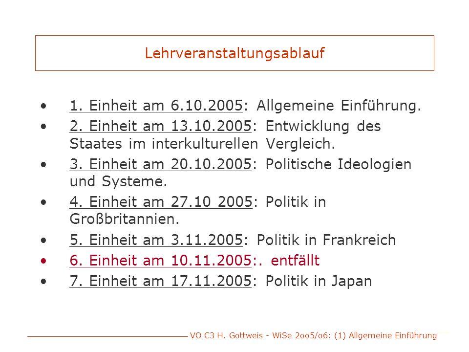 VO C3 H. Gottweis - WiSe 2oo5/o6: (1) Allgemeine Einführung Lehrveranstaltungsablauf 1. Einheit am 6.10.2005: Allgemeine Einführung. 2. Einheit am 13.