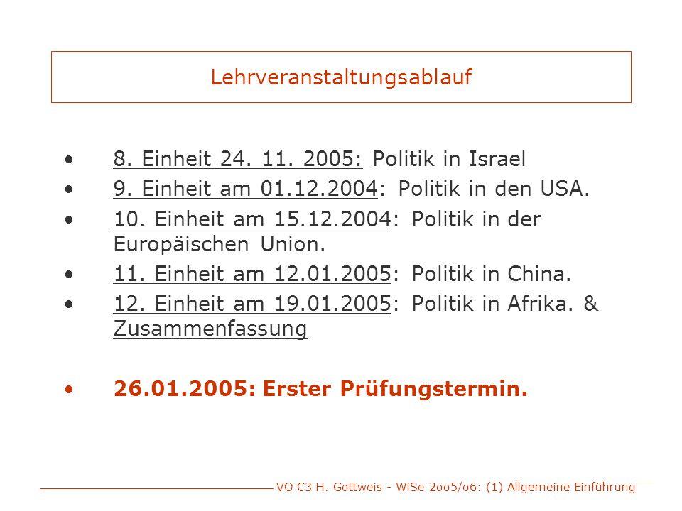 VO C3 H. Gottweis - WiSe 2oo5/o6: (1) Allgemeine Einführung Lehrveranstaltungsablauf 8. Einheit 24. 11. 2005: Politik in Israel 9. Einheit am 01.12.20