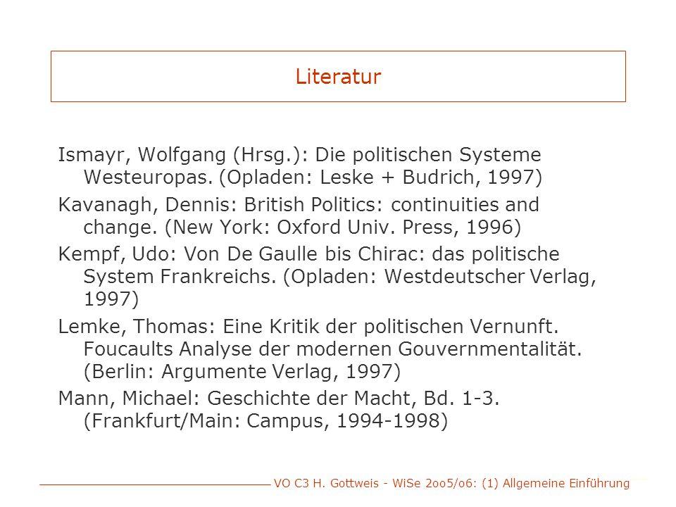 VO C3 H. Gottweis - WiSe 2oo5/o6: (1) Allgemeine Einführung Literatur Ismayr, Wolfgang (Hrsg.): Die politischen Systeme Westeuropas. (Opladen: Leske +