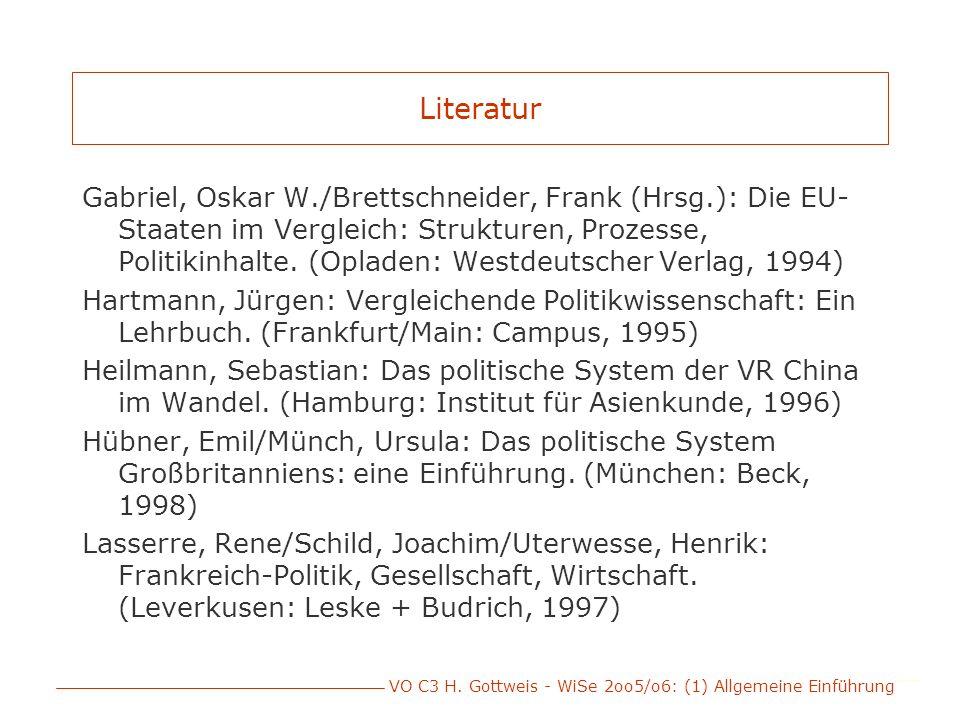 VO C3 H. Gottweis - WiSe 2oo5/o6: (1) Allgemeine Einführung Literatur Gabriel, Oskar W./Brettschneider, Frank (Hrsg.): Die EU- Staaten im Vergleich: S