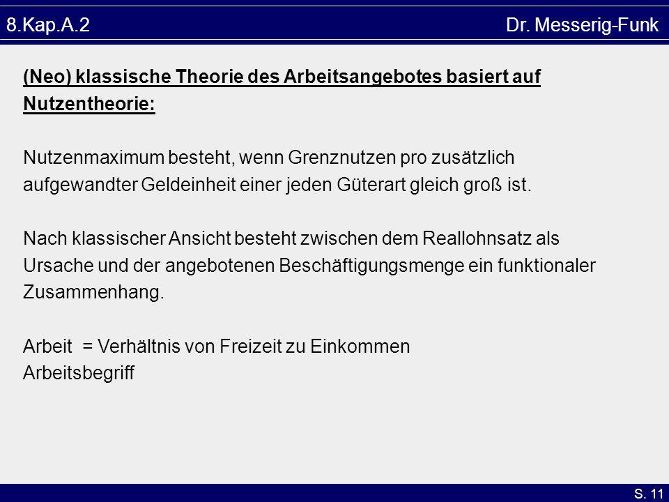 S. 11 8.Kap.A.2 Dr. Messerig-Funk (Neo) klassische Theorie des Arbeitsangebotes basiert auf Nutzentheorie: Nutzenmaximum besteht, wenn Grenznutzen pro