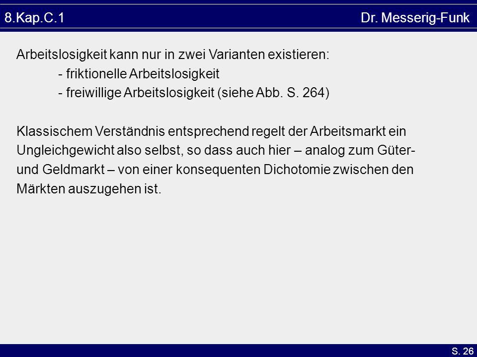 S. 26 8.Kap.C.1 Dr. Messerig-Funk Arbeitslosigkeit kann nur in zwei Varianten existieren: - friktionelle Arbeitslosigkeit - freiwillige Arbeitslosigke