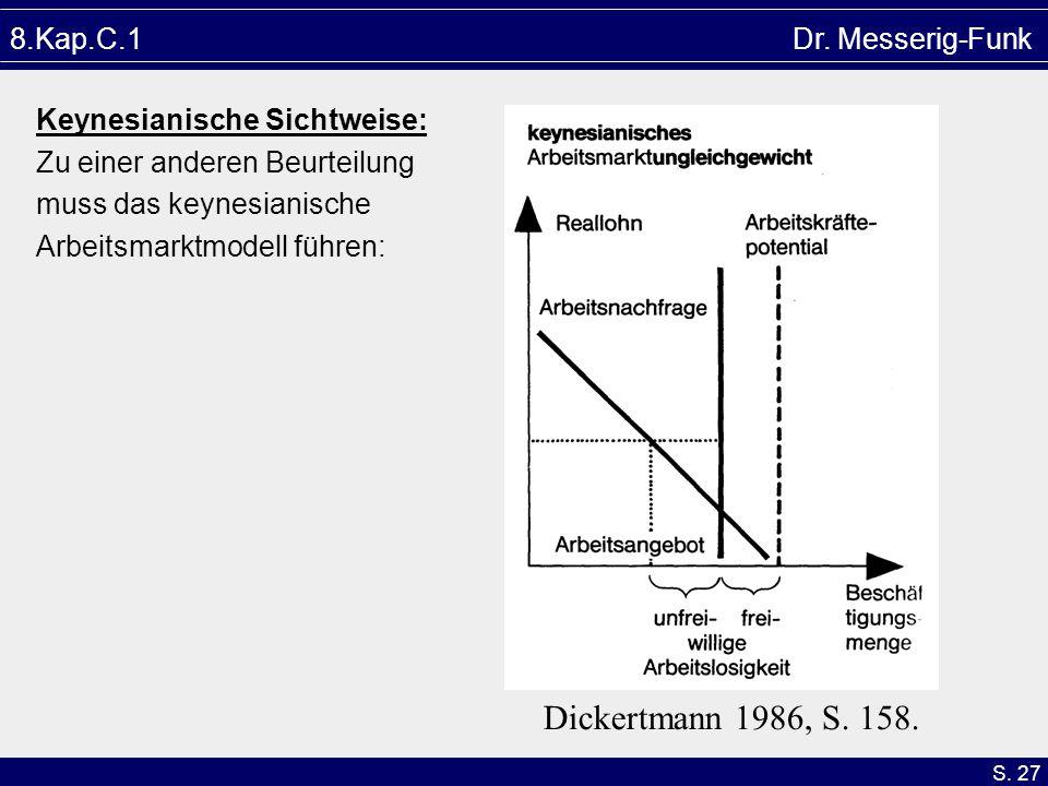 S. 27 Dickertmann 1986, S. 158. 8.Kap.C.1 Dr. Messerig-Funk Keynesianische Sichtweise: Zu einer anderen Beurteilung muss das keynesianische Arbeitsmar