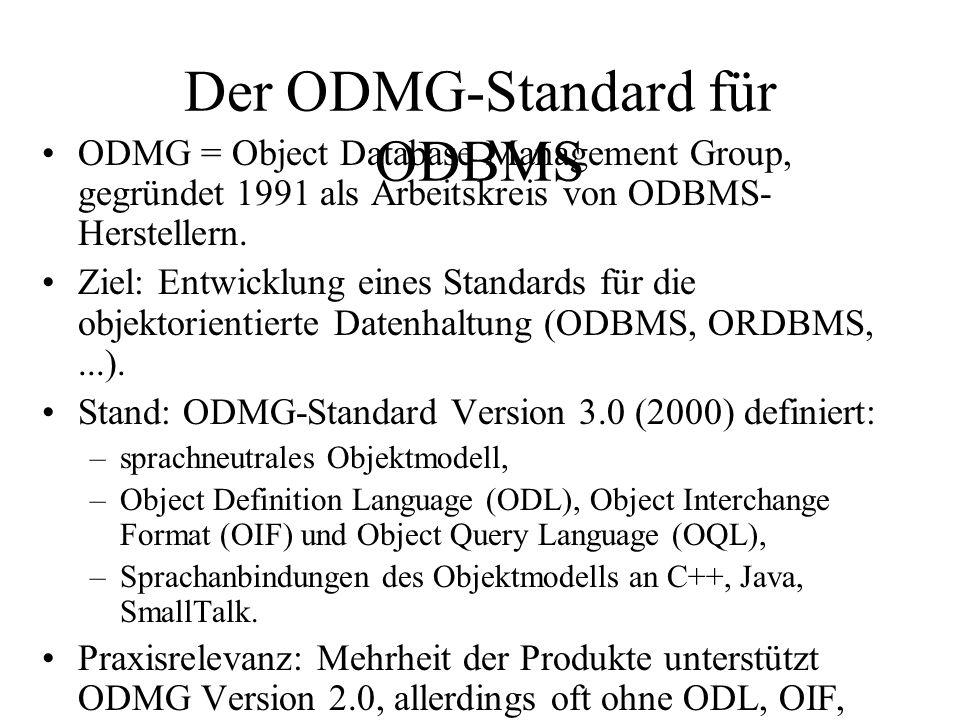 Der ODMG-Standard für ODBMS ODMG = Object Database Management Group, gegründet 1991 als Arbeitskreis von ODBMS- Herstellern.