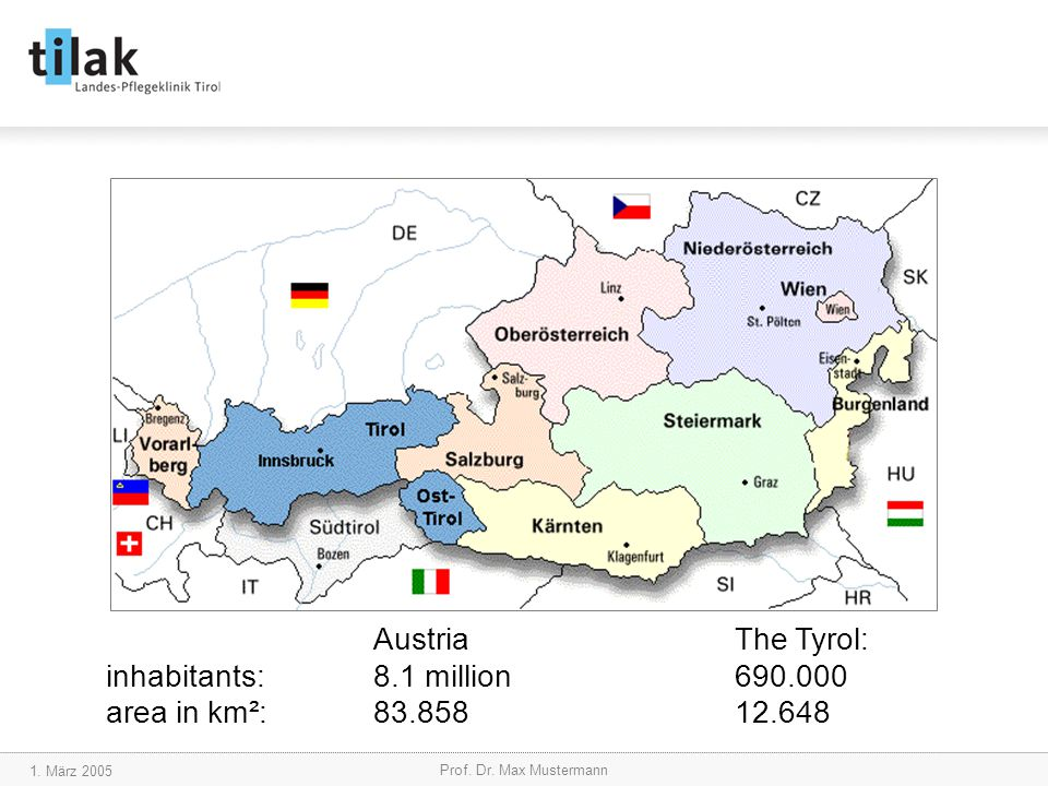 1. März 2005 Prof. Dr. Max Mustermann AustriaThe Tyrol: inhabitants:8.1 million690.000 area in km²:83.858 12.648