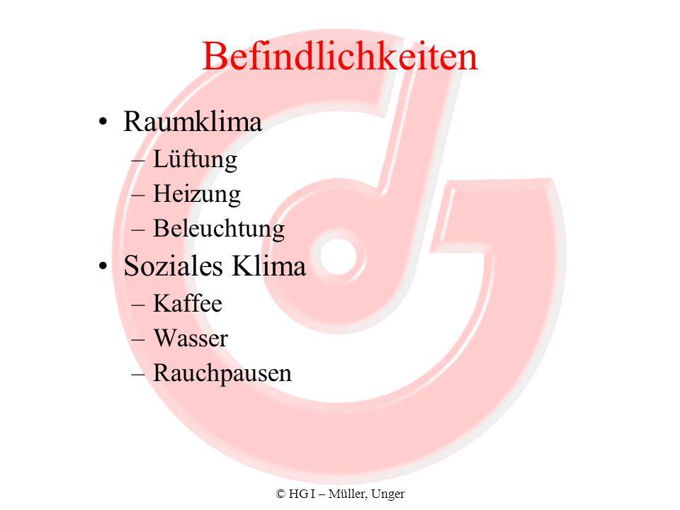 © HG I – Müller, Unger Befindlichkeiten Raumklima –Lüftung –Heizung –Beleuchtung Soziales Klima –Kaffee –Wasser –Rauchpausen