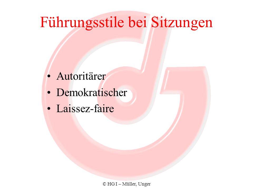 © HG I – Müller, Unger Führungsstile bei Sitzungen Autoritärer Demokratischer Laissez-faire