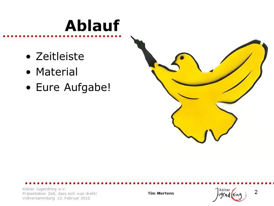 2 Ablauf Zeitleiste Material Eure Aufgabe! Tim Mertens Kölner Jugendring e.V. Präsentation Zeit, dass sich was dreht! Vollversammlung 13. Februar 2012