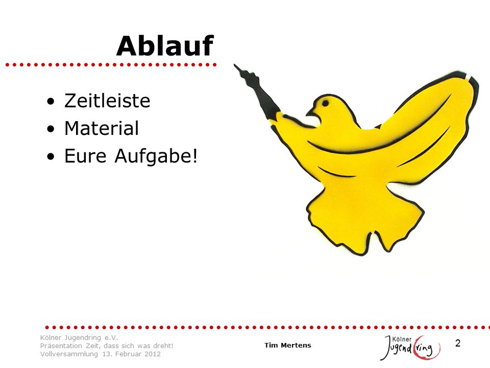 2 Ablauf Zeitleiste Material Eure Aufgabe. Tim Mertens Kölner Jugendring e.V.