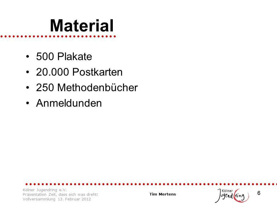 6 Material 500 Plakate 20.000 Postkarten 250 Methodenbücher Anmeldunden Tim Mertens Kölner Jugendring e.V. Präsentation Zeit, dass sich was dreht! Vol