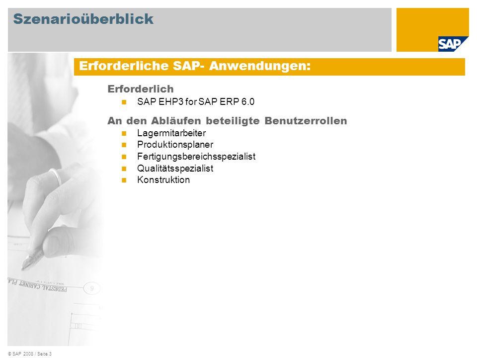 © SAP 2008 / Seite 4 Vertriebs- sach- bearbeiter Ablaufdiagramm Kons- truktion Produktions planer Ereignis Fertigungs- bereichs- spezialist Kundenauftrag mit Material und Mustermaterial anlegen Kundenbedarf Chargen- nummer ermitteln Liefersperre für Hauptposition setzen Chargenstatus ändern Prozessauftrag für Mustermaterial anlegen Qualitäts- spezialist Prozessauftrag rückmelden Prüflos anlegen Ergebnis- erfassungs- listen pflegen Verwendungs- entscheid aufzeichnen Lagermitarbeiter Hauptposition liefern Chargenableitung prüfen Liefersperre für Hauptposition entfernen Hauptposition fakturieren Probematerial und Hauptposition liefern Probematerial und Hauptposition fakturieren Probematerial fakturieren Probematerial liefern