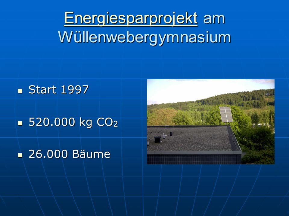 EnergiesparprojektEnergiesparprojekt am Wüllenwebergymnasium Energiesparprojekt Start 1997 Start 1997 520.000 kg CO 2 520.000 kg CO 2 26.000 Bäume 26.000 Bäume