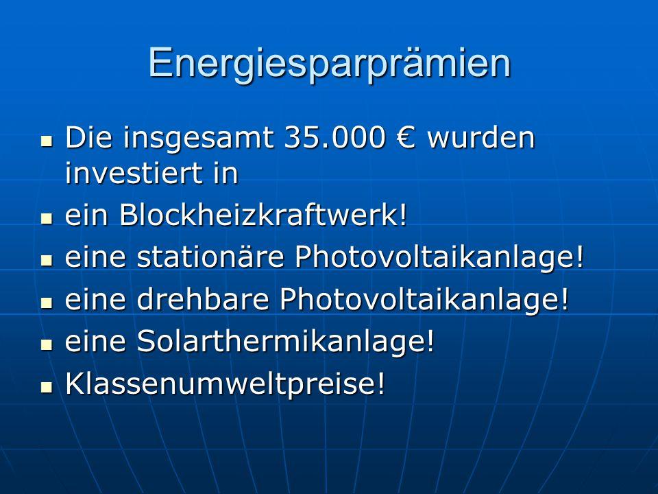 Energiesparprämien Die insgesamt 35.000 € wurden investiert in Die insgesamt 35.000 € wurden investiert in ein Blockheizkraftwerk.