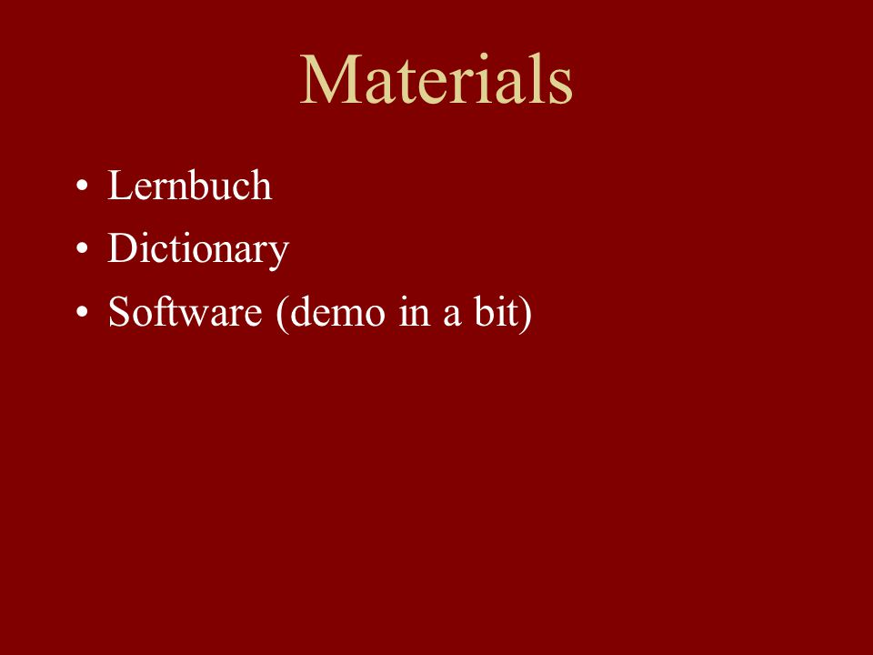 Materials Lernbuch Dictionary Software (demo in a bit)