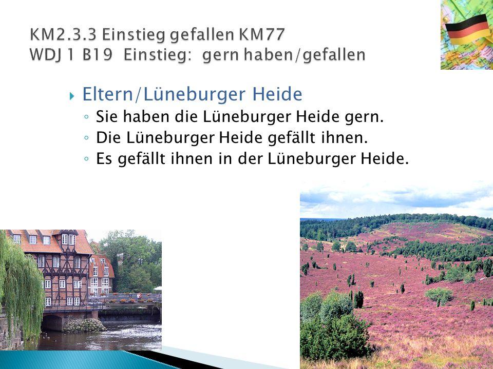 EEltern/Lüneburger Heide ◦S◦Sie haben die Lüneburger Heide gern. ◦D◦Die Lüneburger Heide gefällt ihnen. ◦E◦Es gefällt ihnen in der Lüneburger Heide.