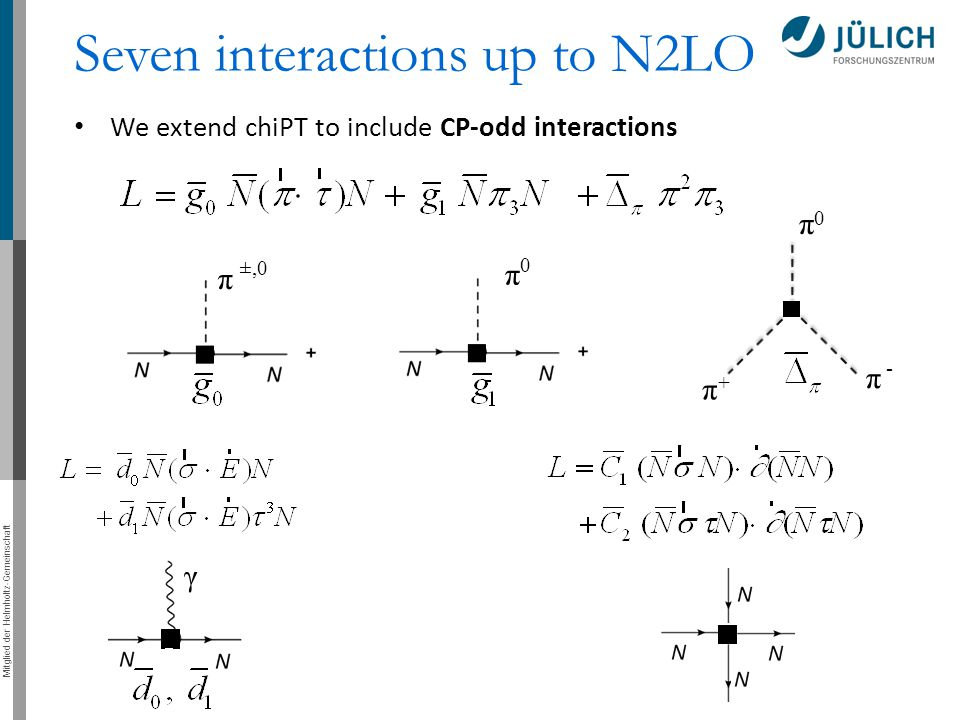 Mitglied der Helmholtz-Gemeinschaft π π 0 ±,0 π 0 π + π - γ Seven interactions up to N2LO We extend chiPT to include CP-odd interactions