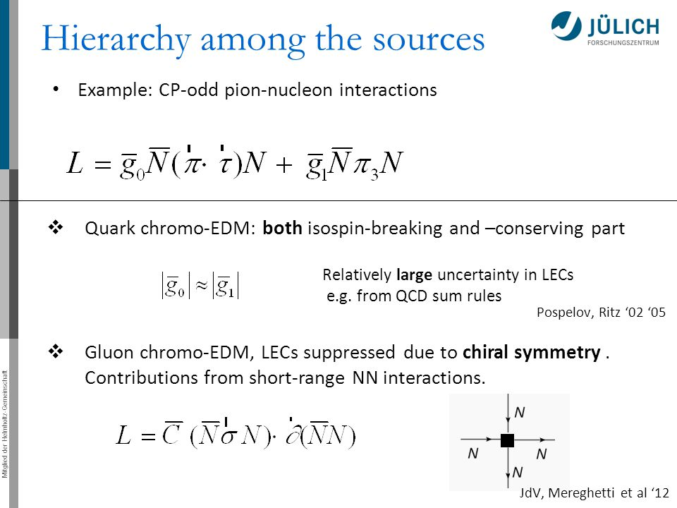 Mitglied der Helmholtz-Gemeinschaft Hierarchy among the sources  Quark chromo-EDM: both isospin-breaking and –conserving part  Gluon chromo-EDM, LECs suppressed due to chiral symmetry.