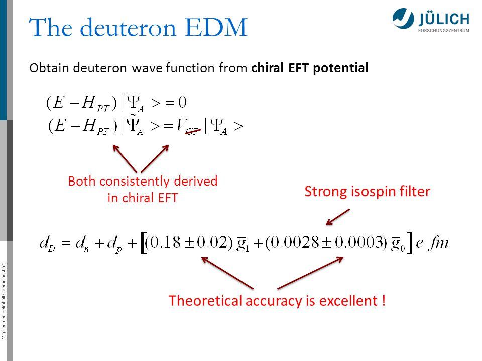 Mitglied der Helmholtz-Gemeinschaft The deuteron EDM Obtain deuteron wave function from chiral EFT potential Both consistently derived in chiral EFT T