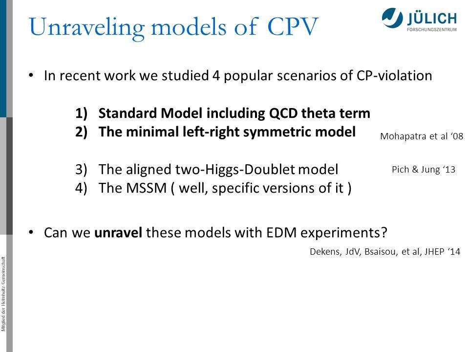 Mitglied der Helmholtz-Gemeinschaft Unraveling models of CPV In recent work we studied 4 popular scenarios of CP-violation 1)Standard Model including