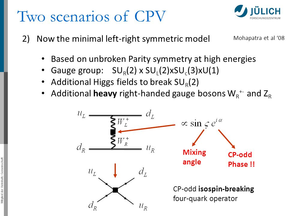 Mitglied der Helmholtz-Gemeinschaft 2)Now the minimal left-right symmetric model Two scenarios of CPV Based on unbroken Parity symmetry at high energies Gauge group: SU R (2) x SU L (2)xSU c (3)xU(1) Additional Higgs fields to break SU R (2) Additional heavy right-handed gauge bosons W R +- and Z R Mixing angle CP-odd Phase !.