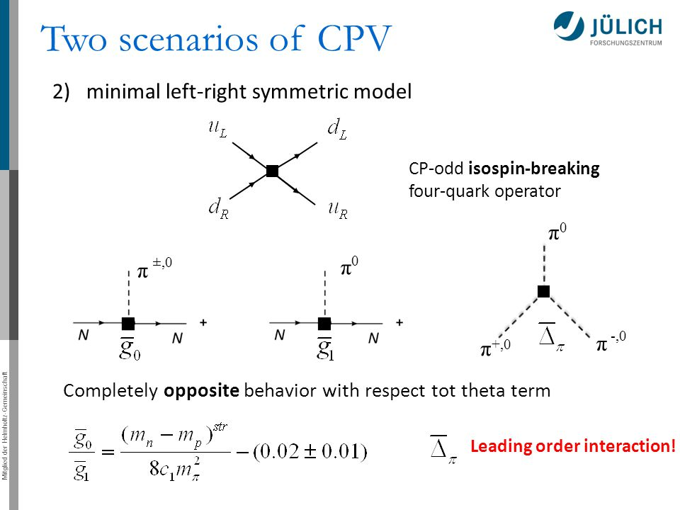 Mitglied der Helmholtz-Gemeinschaft 2)minimal left-right symmetric model Two scenarios of CPV CP-odd isospin-breaking four-quark operator π π 0 ±,0 0 π +,0 π -,0 π Completely opposite behavior with respect tot theta term Leading order interaction!