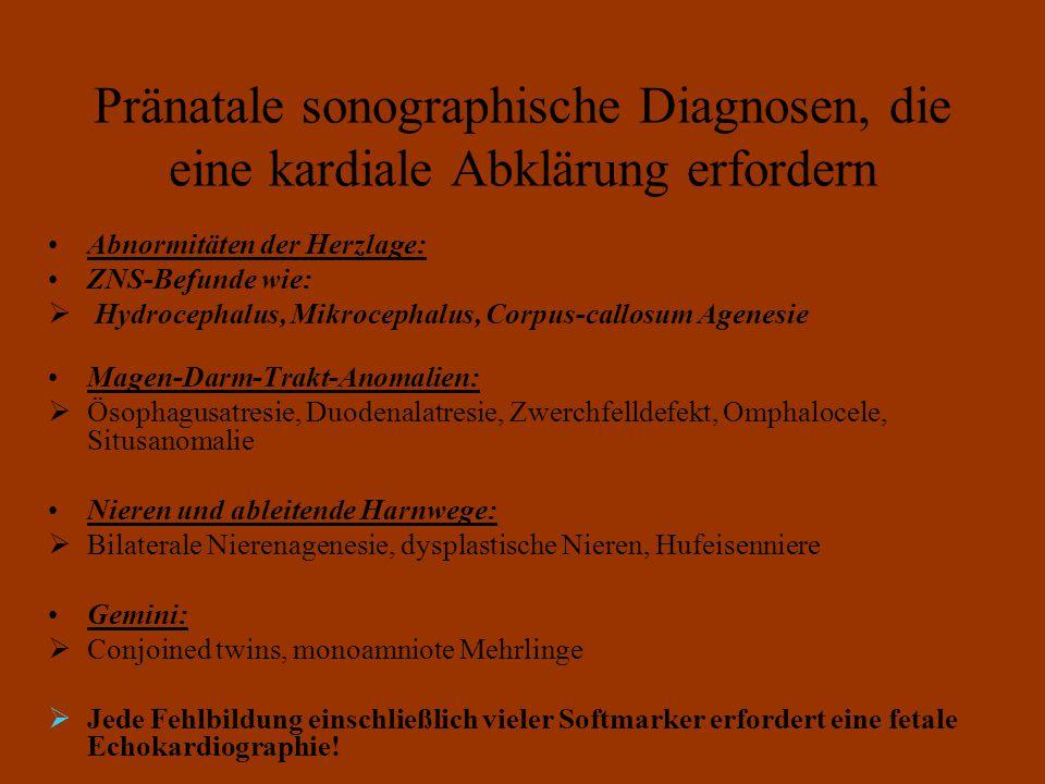 Pränatale sonographische Diagnosen, die eine kardiale Abklärung erfordern Abnormitäten der Herzlage: ZNS-Befunde wie:  Hydrocephalus, Mikrocephalus, Corpus-callosum Agenesie Magen-Darm-Trakt-Anomalien:  Ösophagusatresie, Duodenalatresie, Zwerchfelldefekt, Omphalocele, Situsanomalie Nieren und ableitende Harnwege:  Bilaterale Nierenagenesie, dysplastische Nieren, Hufeisenniere Gemini:  Conjoined twins, monoamniote Mehrlinge  Jede Fehlbildung einschließlich vieler Softmarker erfordert eine fetale Echokardiographie!