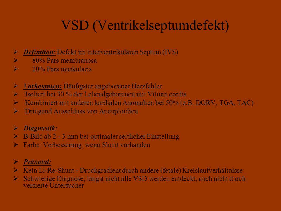 VSD (Ventrikelseptumdefekt)  Definition: Defekt im interventrikulären Septum (IVS)  80% Pars membranosa  20% Pars muskularis  Vorkommen: Häufigster angeborener Herzfehler  Isoliert bei 30 % der Lebendgeborenen mit Vitium cordis  Kombiniert mit anderen kardialen Anomalien bei 50% (z.B.