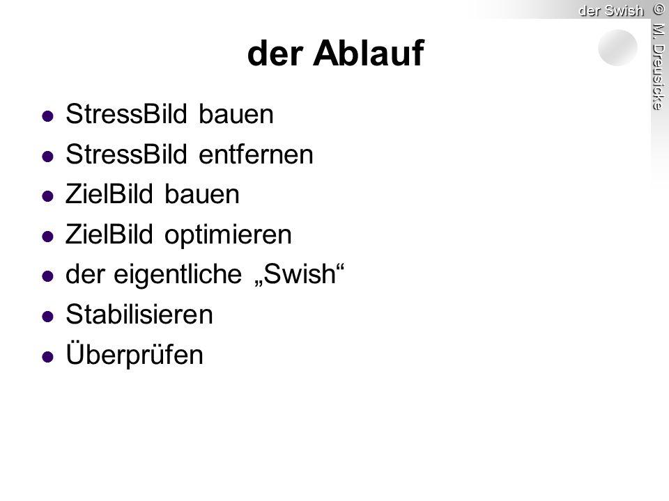 """© M. Dreusicke der Swish StressBild bauen StressBild entfernen ZielBild bauen ZielBild optimieren der eigentliche """"Swish"""" Stabilisieren Überprüfen der"""
