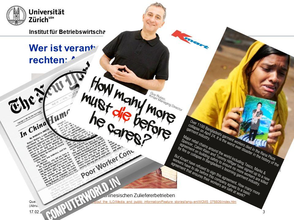 Institut für Betriebswirtschaftslehre 3 Wer ist verantwortlich? Einhaltung von Menschen- rechten: Arbeitssicherheit in Zulieferbetrieben Foto: Verunfa