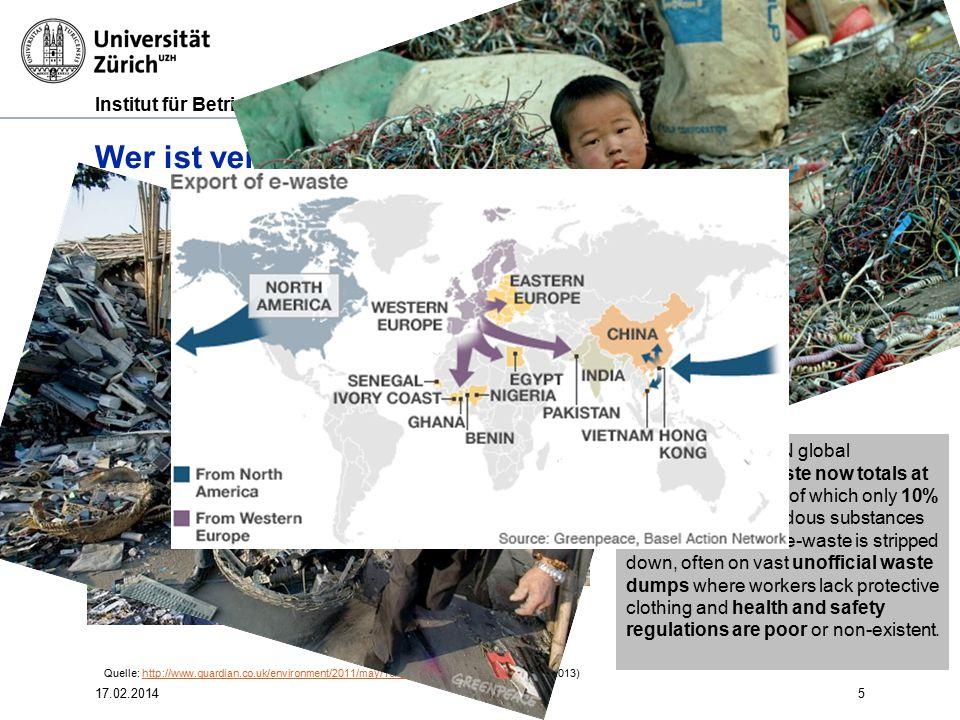 Institut für Betriebswirtschaftslehre 5 Wer ist verantwortlich? Einhaltung von Umweltstandards: E-trash dumping in Afrika According to the UN global p