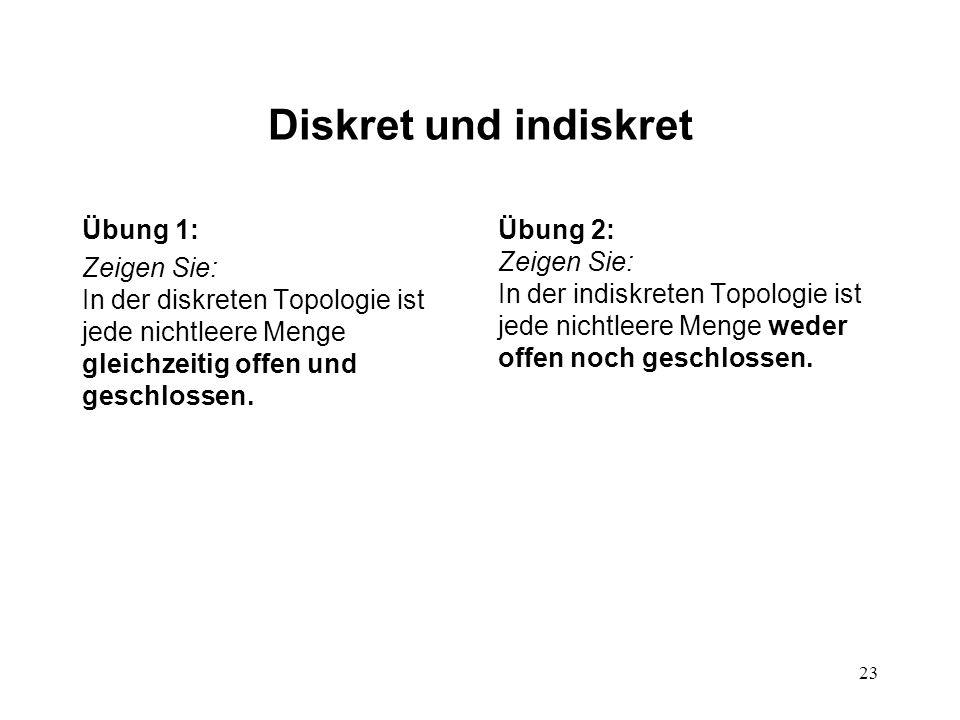 23 Diskret und indiskret Übung 1: Zeigen Sie: In der diskreten Topologie ist jede nichtleere Menge gleichzeitig offen und geschlossen.