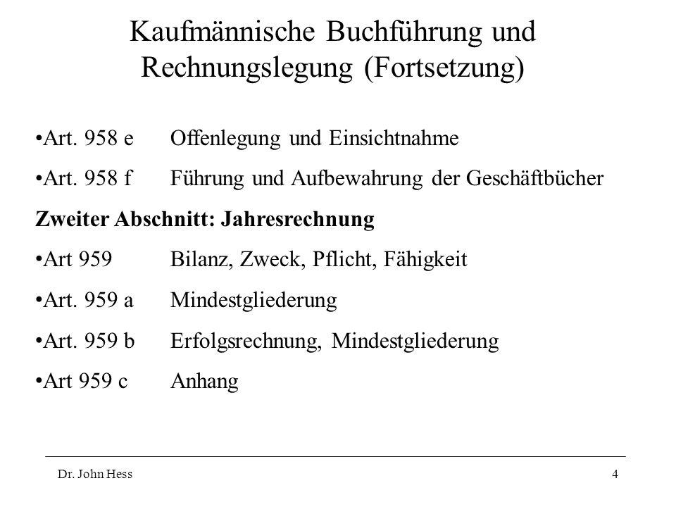 Dr. John Hess4 Kaufmännische Buchführung und Rechnungslegung (Fortsetzung) Art.