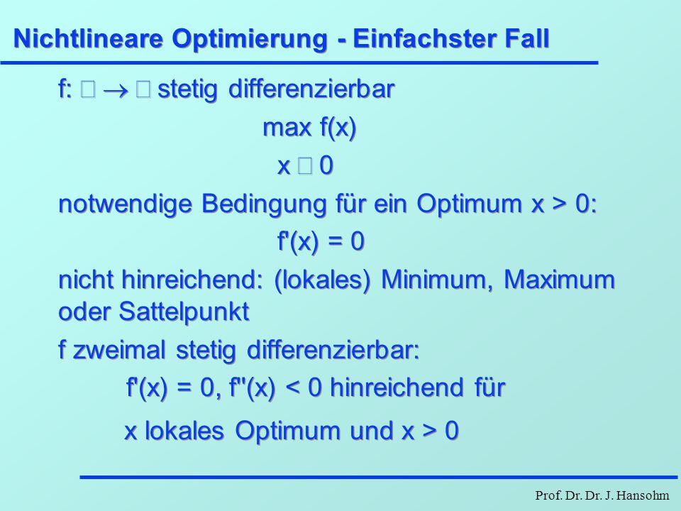 Prof. Dr. Dr. J. Hansohm Nichtlineare Optimierung - Einfachster Fall f:  stetig differenzierbar max f(x) x  0 notwendige Bedingung für ein Op