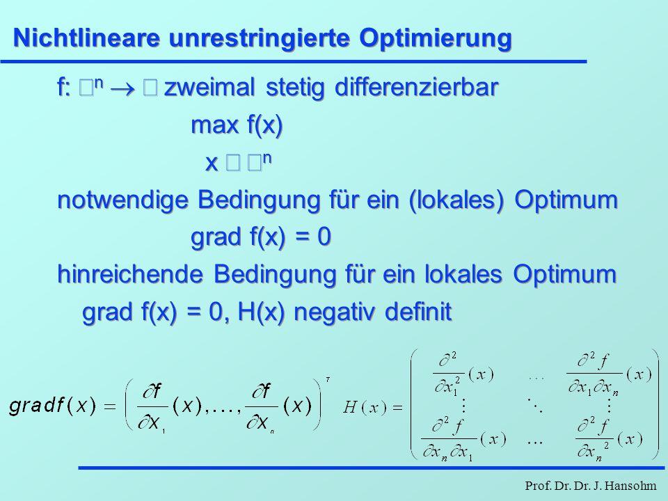 Prof. Dr. Dr. J. Hansohm Nichtlineare unrestringierte Optimierung f:  n  zweimal stetig differenzierbar max f(x) x  n notwendige Bedingung fü