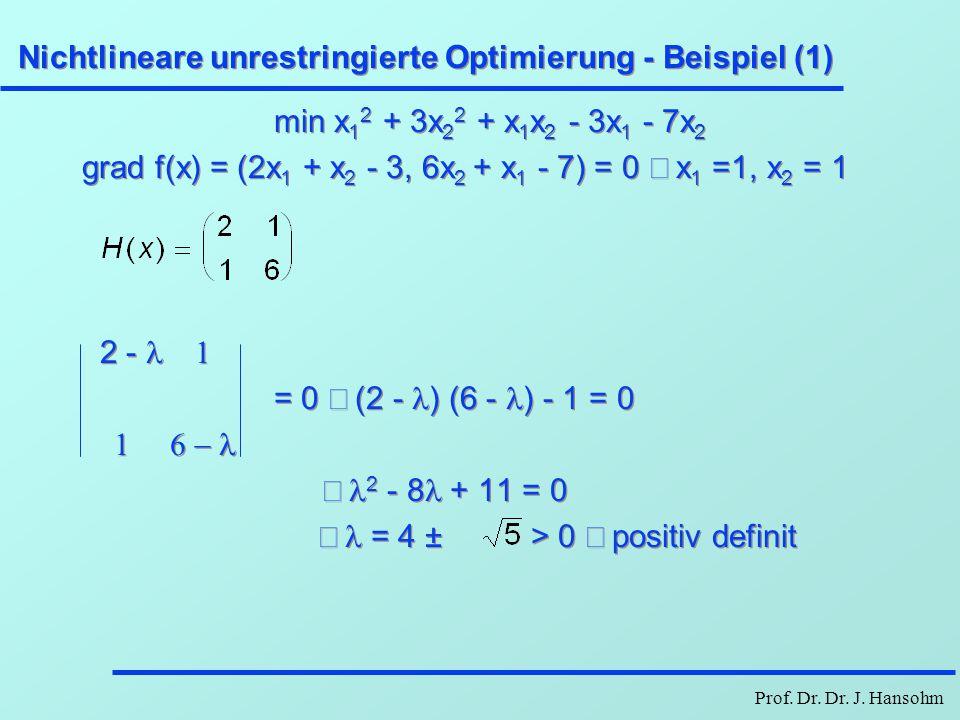 Prof. Dr. Dr. J. Hansohm Nichtlineare unrestringierte Optimierung - Beispiel (1) min x 1 2 + 3x 2 2 + x 1 x 2 - 3x 1 - 7x 2 grad f(x) = (2x 1 + x 2 -